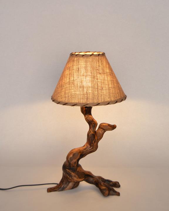 Lampara de mesa rustica ls 139 12 tronkasa - Como hacer una lampara de mesa ...